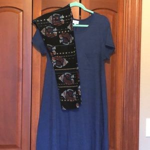 LulaRoe Outfit TC Fish Leggings Med Blue Carly